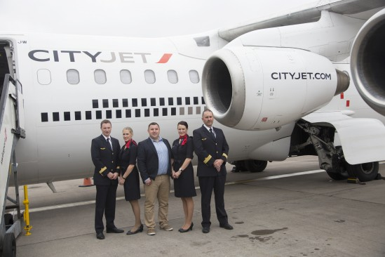 CityJet crew with C103's Colum McGrath